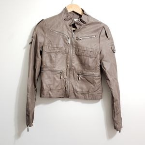 Fate Taupe Vegan Faux Leather Zipper Moto Jacket